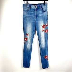 Express Flower Embroidered High Waisted Jeans 🌸